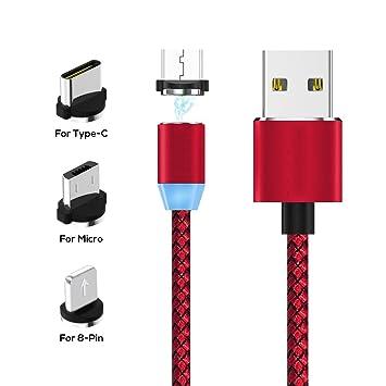 WMIAO Cable De Carga USB Magnético, Cargador De Cable Multi ...