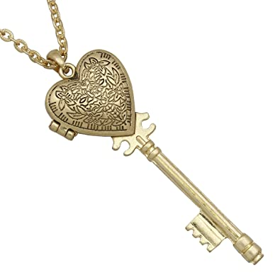 c97a91a9e2b65 RechicGu Victorian Gold Big Skeleton Key Heart Magnet Locket Steampunk  Chain Pendant Necklace