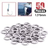 Hilitchi Multiple Sizes Complete Models Round Stainless Steel Solid Rings Fishing Rings for Jigging Fishing Assist Hooks…