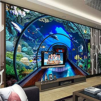 Shah Custom 3d Wallpaper Mural Floor Sticker Underwater Aquarium 3d Stereo Murals Tv Background Living Room Wall Decoration 150cmx100cm Amazon Com