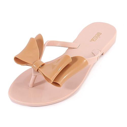 86773b2eb Melissa Women s Harmonic Tie Bow Slip On Flip Flop Blush Tan  Amazon ...