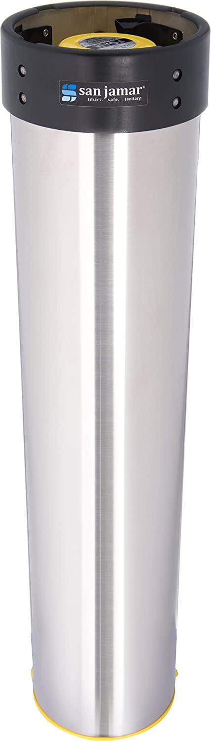 San Jamar C3500E Stainless Steel Surface Mount Beverage Foam Cup Dispenser, Fits 32oz to 46oz Cup Size, 4
