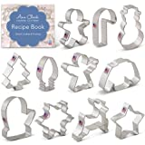 Ann Clark Cookie Cutters 11-Piece Christmas Cookie Cutter Set with Recipe Booklet, Snowflake, Christmas Tree, Candy Cane…