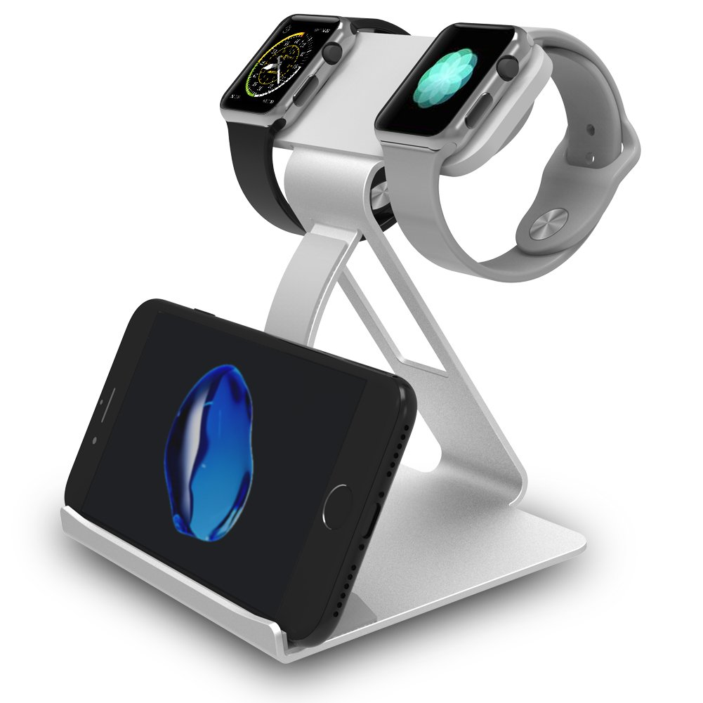 3 in 1 Apple Watch Stand, Dual Head Mode iWatch Charging Stand Bracket Docking Station Holder for Apple Watch Series 3/Series 2/Series 1 (42mm 38mm) iPhone X 8 8plus 7 7plus iPad ATOPHK 003-Silver
