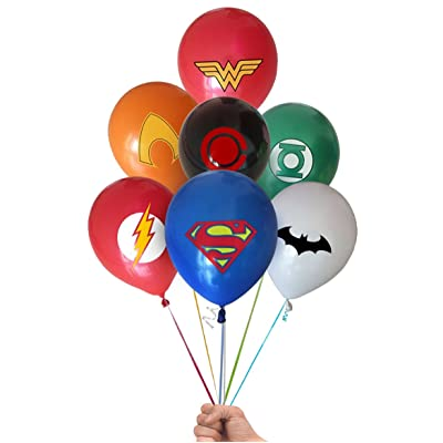 "Justice League Superhero Emblem 21 Count Party Balloon Pack - Large 12"" Latex Balloons: Toys & Games"