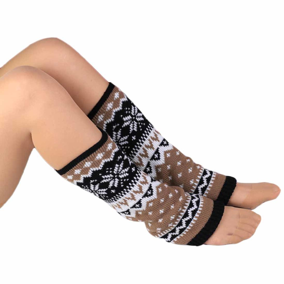 HP95(TM)Fashion Women Knitting Snowflake Shape Footless Knee Socks Leg Warmers