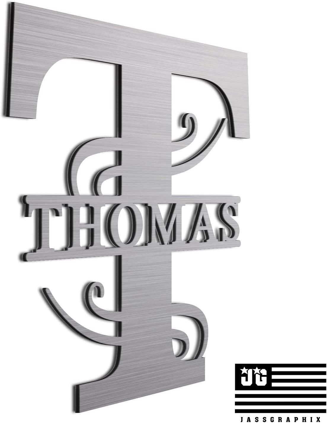 "JASS GRAPHIX Personalized 12"" Brushed Aluminum Thomas Monogrammed Sign Door Wall Decor"