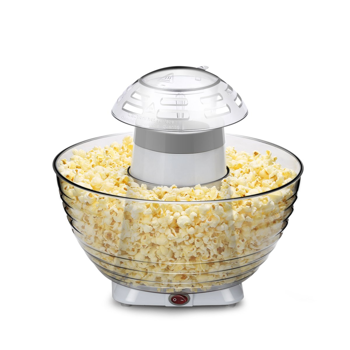 Excelvan Homemade Air-pop Popcorn Maker with Quick and Safe Operation, Popper Corn Machine with Removable Plus Bowl Suitable for Families Enjoyment, Party (White)