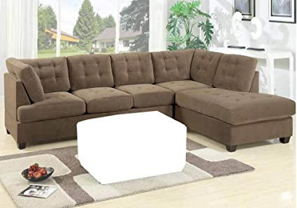 Amazon.com: Poundex F7140 Beige Suede Microfiber Fabric Sectional ...