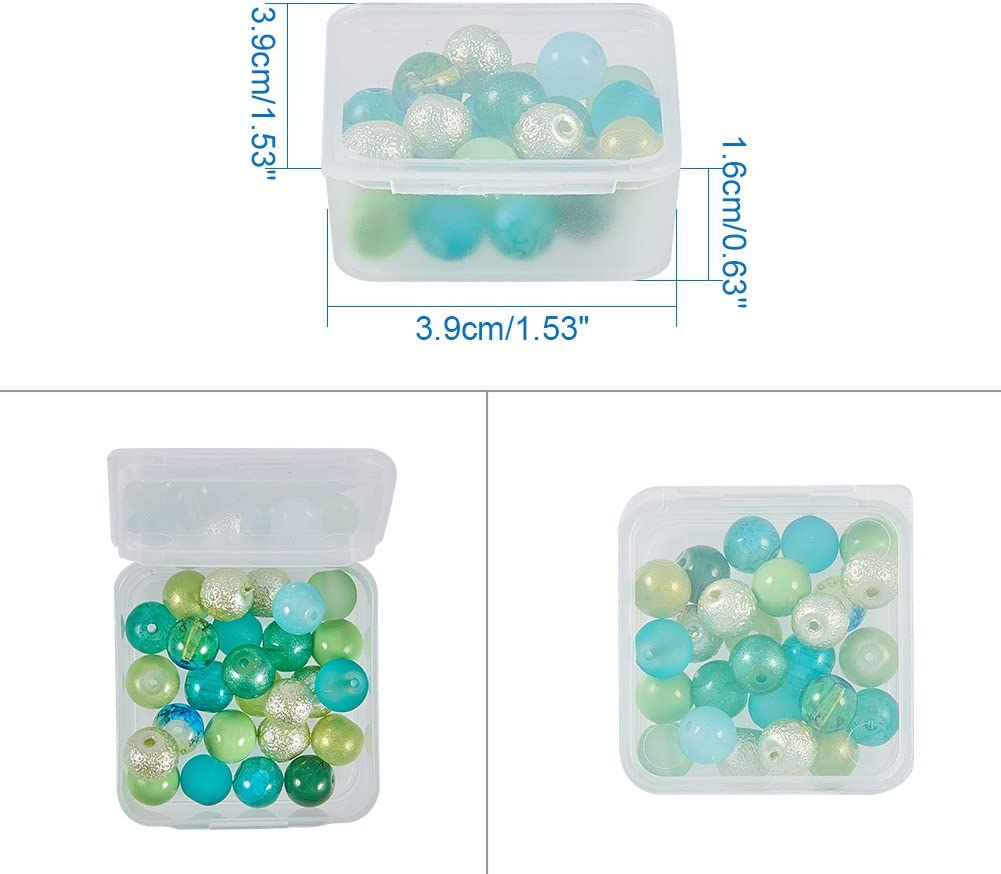 2x0.9 Inches BENECREAT 16 Pack Round Frosted Plastic Bead Storage Containers Box Case with Flip-Up Lids for Items,Pills,Herbs,Tiny Bead,Jewerlry Findings and Other Small Items