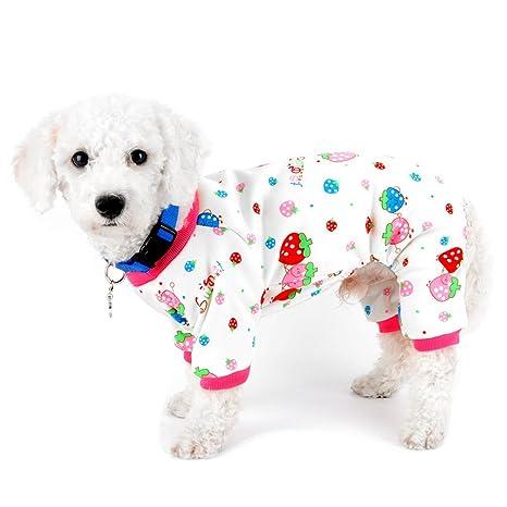 SELMAI Pajamas para perros pequeños gatos forro polar fresa cachorro perrito ropa interior traje invierno Yorkie