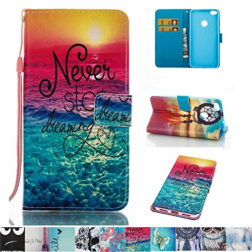 Huawei P8 Lite 2017 Case, Firefish Kickstand Leather Wallet Case with Card Slots Shock Resistance Slim Bumper Cover Magnetic Closure Protect Case for Huawei P8 Lite 2017 -Sea