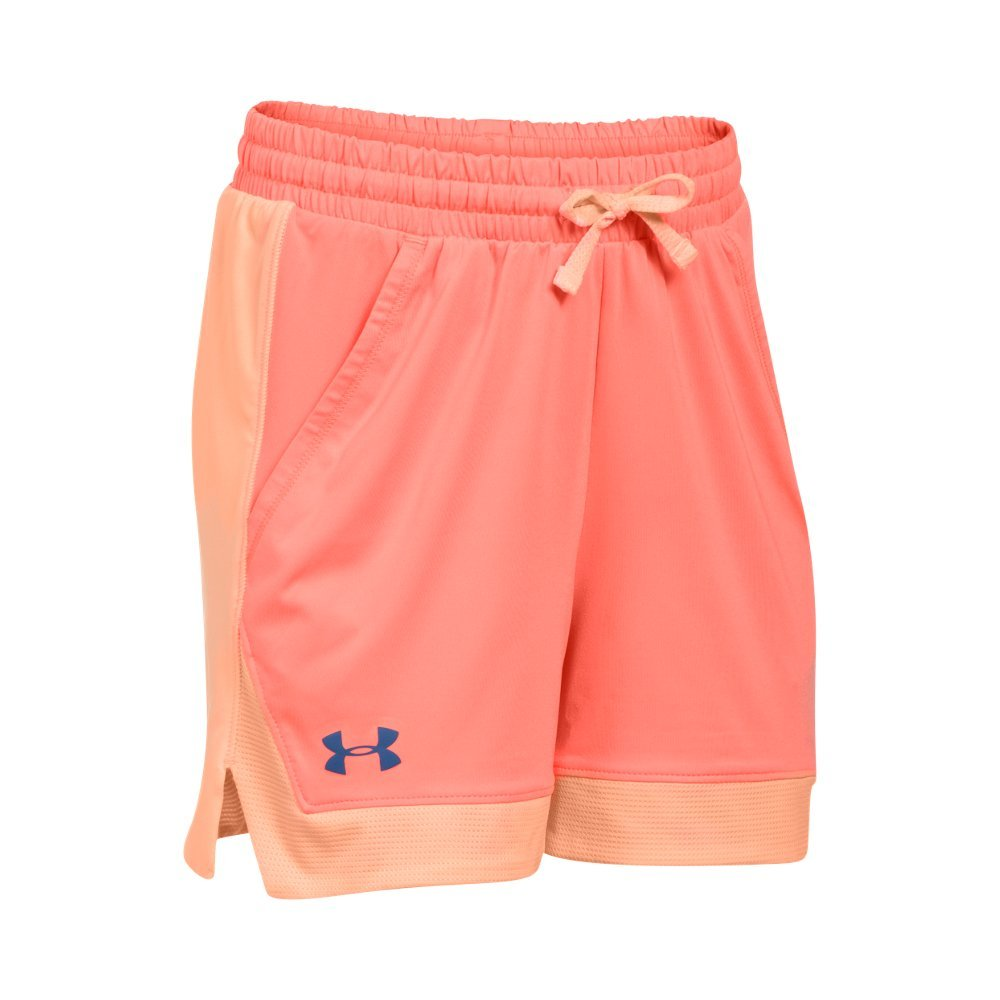Under Armour Girls' Armour Sport Shorts,London Orange (404)/Deep Periwinkle, Youth X-Large by Under Armour (Image #1)