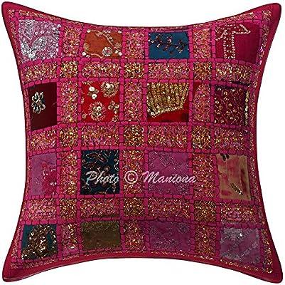ManionaCrafts Indian Lentejuelas Patchwork Pink Cojín Throw ...