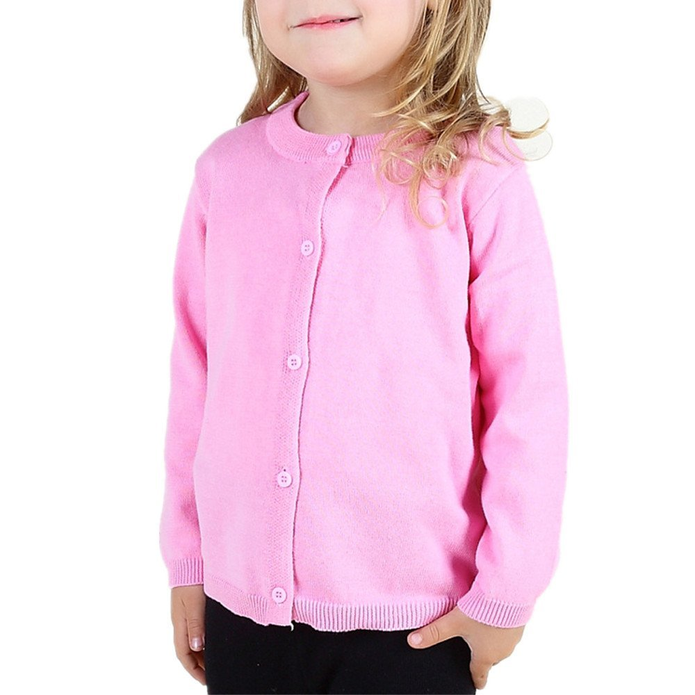 LJYH Baby Girls Candy Color Sweater Knit Cardigan Long-Sleeved Cardigan