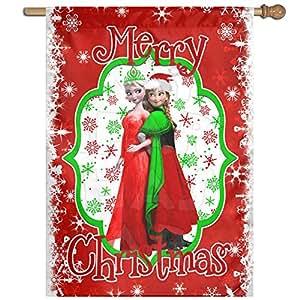 Decorativo Frozen Anna Elsa Navidad casa jardín bandera Banner