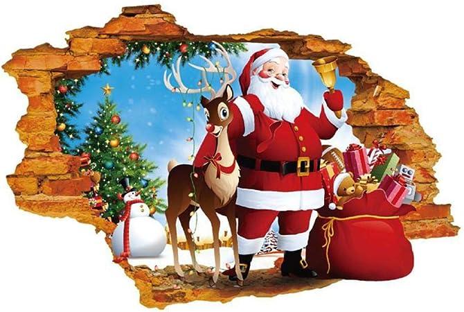 Gaeruite Noel Stickers Muraux Pour Decoration Murale Fenetre Bonhomme De Neige Blanc Santa Claus 3d Stereo 3d Planete Ciel Etoile 3d Tridimensionnel Cerf De Noel Arbre De Noel Santa Clau Amazon Fr Cuisine