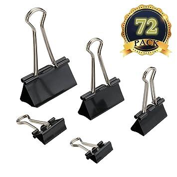 MAIKEHIGH 72 Pinzas Oficina Piezas FoldBack Binder Clips Paper Metal Clamps para Notas Letter Suministros, 5 Tamaños clasificados, Negro: Amazon.es: Oficina ...