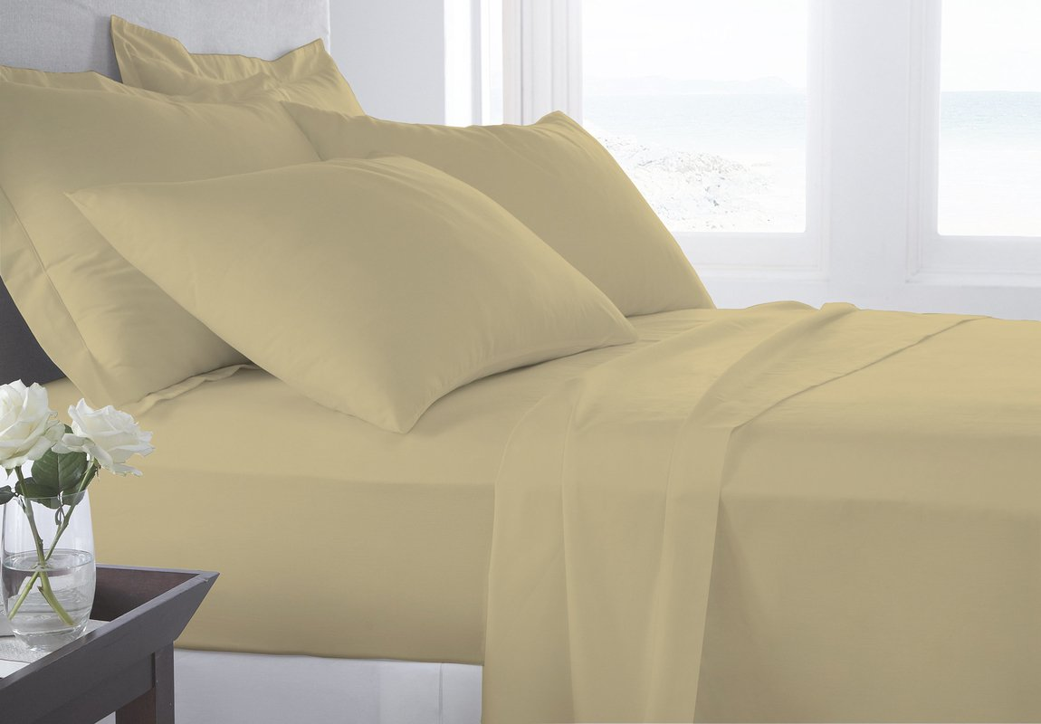 Serene Linens 5 Piece Flat Sheet Set 400 Thread Count (1 Flat Sheet And 4 Pillowcase) 100% Pima Cotton Hypoallergenic and Luxurious Bed Sheet (Taupe , King)