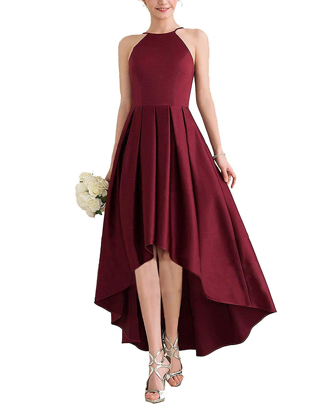 Burgundy JINGDRESS Womens High Low Satin Bridesmaid Dress High Neck Sleeveless A Line Pleated Prom Gowns