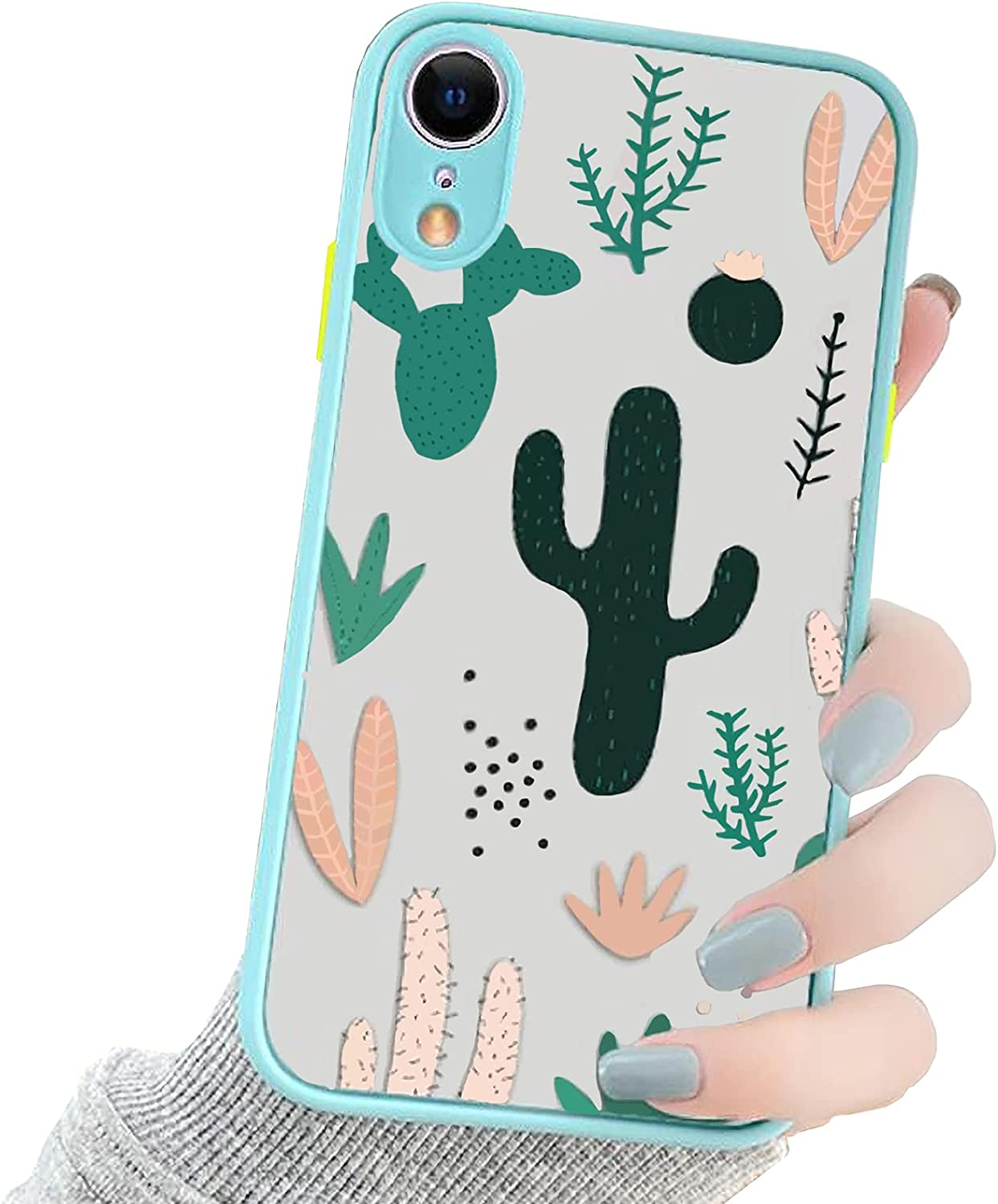 OTTARTAKS iPhone XR Case Clear Design, Cute Cactus iPhoneXR Case for Girls Women 3D Cartoon, Slim Fit Shockproof PC Back and Soft TPU Bumper Protective Case for iPhone XR 6.1inch, Green