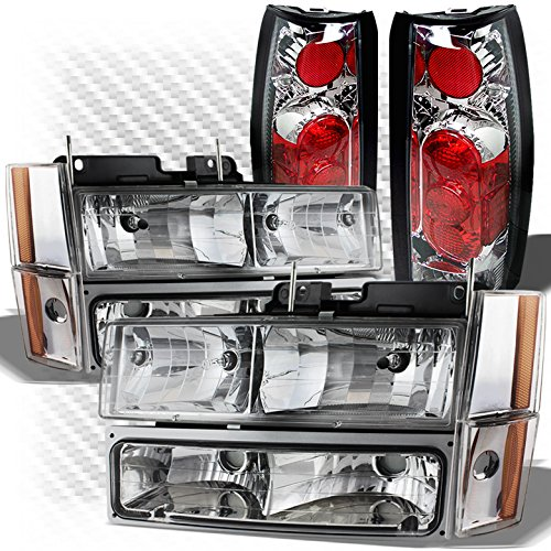 Xtune for 1988-1993 GMC/Chevy C/K Truck Headlights Bumper Set + Gen 2 Altezza Style Tail Lights 1989 1990 1991 1992