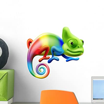 555d4e63ae7b9 Image Unavailable. Image not available for. Color  Wallmonkeys Rainbow  Chameleon Wall Decal ...