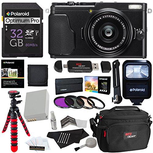 Fujifilm X70 Digital Camera (Black) + Polaroid 32GB Memory Card + Tripod + 49mm Polaroid Filter Set + Spare Battery + Ritz Gear Camera Bag + Polaroid Flash + Cleaning Kit + Accessory Bundle
