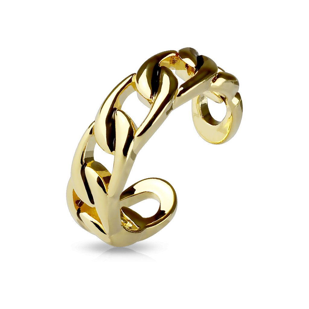 FifthCue Linked Chain Adjustable Rhodium Plated Brass Finger Mid-Ring or Toe Ring - Choose Color JQR-A16530