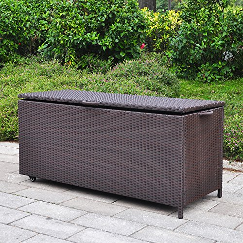 Outdoor Patio Wicker Storage Container Deck Box made of Antirust Aluminum Frames and Resin Rattan, 20-Gallon (Brown) (Large, Brown) by Babylon (Image #1)