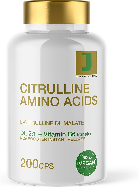 Malato de L-citrulina + Vitamina B6 | 200 cápsulas 500mg | aminoácido vegano | óxido nítrico