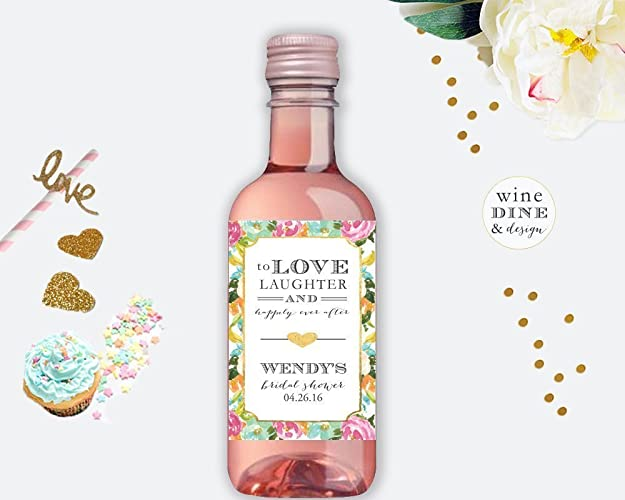 mini wine label bridal shower favors