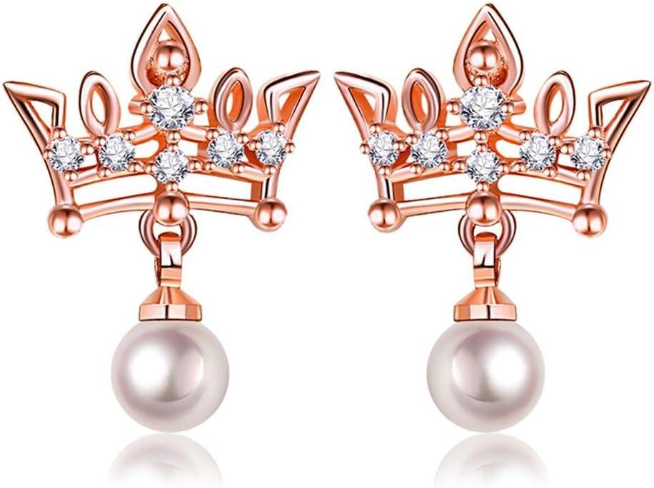 J.MeMi'S Cobre Perla Zirconio Pendientes Cortos Colgantes Corona Imperial para Regalo de San Valentín Mujeres
