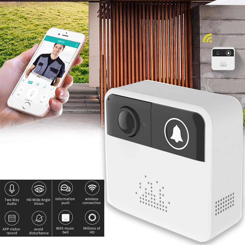 GETIT72 Smart Wireless Video Doorbell Wifi Visual Remote Intercom System Electronic Door Viewer Door Phone Home Security Monitor 720p 6fps HD Video with 140 ° Wide Angle Camera