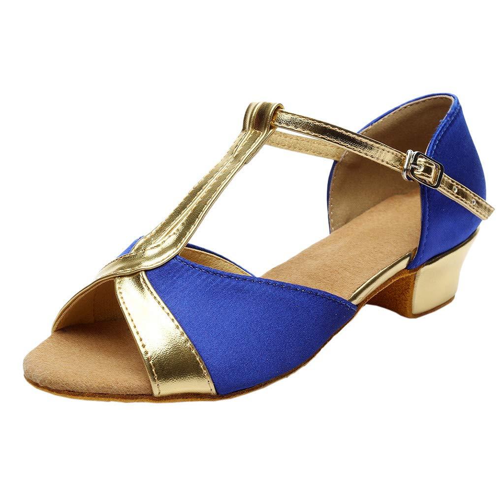 ★QueenBB★ Kids T-Strap Glitter Synthetic Salsa Tango Ballroom Latin Party Dance Shoes Wedding Shoe for Girls Blue