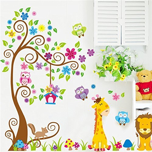 Pakdeevong shop Cartoon DIY animals giraffes owl lions under the tree removable wall sticker vinyl art child children nursery room D Ecals