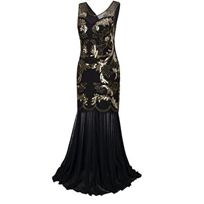 Long Prom Dresses 1920s Flapper Dress Sequins Beaded Art Deco Evening Gown Party