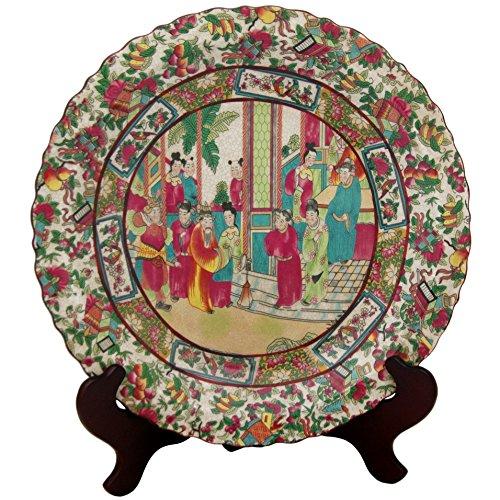 """Oriental Furniture 14"""" Rose Medallion Porcelain Plate"""
