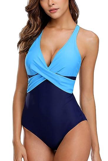 new product e01bc ceb68 Vegatos Damen Bademode Einteiler Mode Badeanzug mit Softcups ...