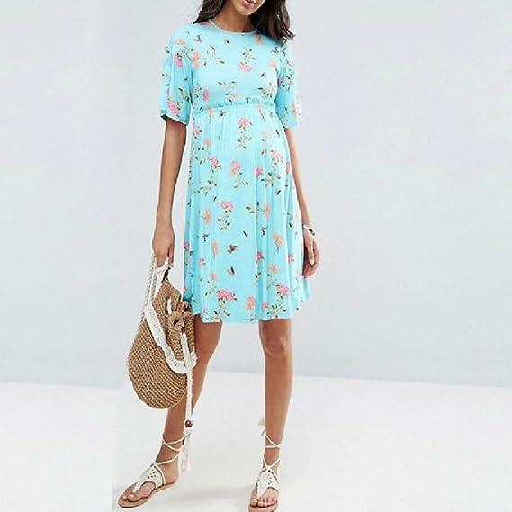 QinMM Vestido de Floral Mujer Embarazo, Premamá Blusa Maternidad de Manga Cortos Verano Camiseta camisón Pijama Bata de baño: Amazon.es: Ropa y accesorios