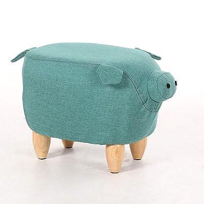 Lcf Reposapiés Taburete de Cerdo tapizado Creativo Otomano de Madera Pufff Zapatos para niños Banco de Dibujos Animados Lindo Taburete de Mesa Antideslizante (Color : Purple): Hogar