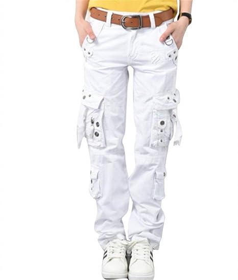 3827c181ec9a Femme Pantalon Cargo Large Sport Training Hip Hop Style de fête Pantalon De  Loisirs avec Poches Style Pantalon Jogging Pantalons Couleur Unie  Amazon.fr   ...