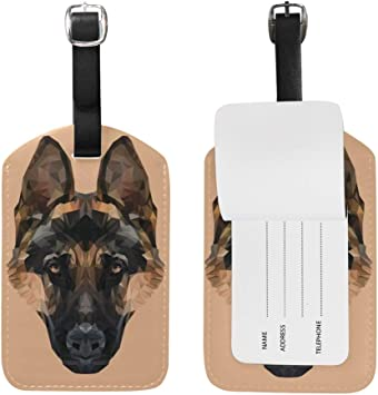 Microfiber PU Leather Luggage Tags Baggage Labels Puppy Dogs Bag Travel Accessories With Privacy Cover For Women 4 PCS