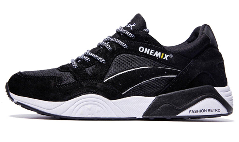 Men's Retro Running Shoes Outdoor Sports Sneakers Light Breathable Shoes Men Sneaker 10|Black White
