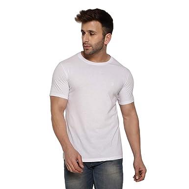 e2c3dbd72 CHKOKKO Half Sleeve Cotton Casual Round Neck T Shirts for Men White Colour  Size