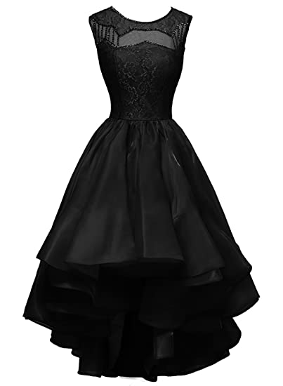 Fanciest Womens Cap Sleeve High Low Prom Dresses Lace Homecoming Party Gowns Black US2