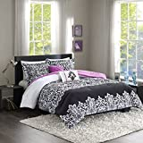 Black and Purple Comforter Sets Queen Leona Comforter Set Black/Purple Full/Queen