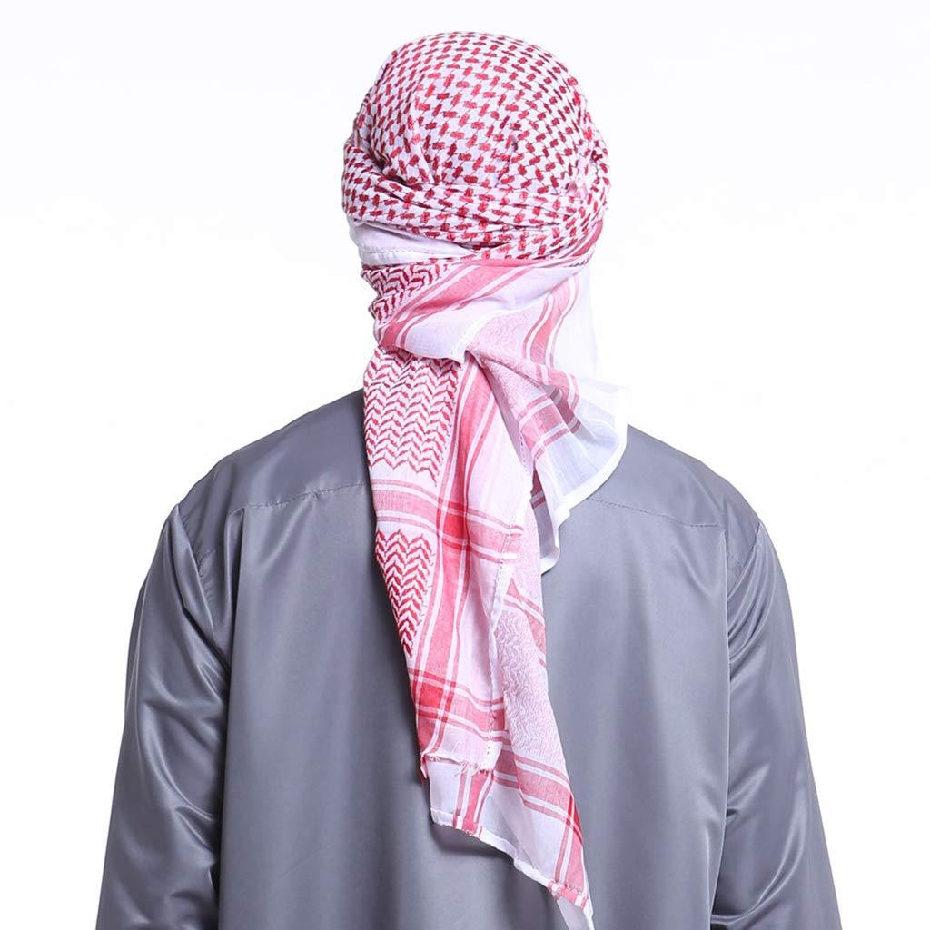 Rot ruiruiNIE 140x140CM Herren Kopftuch Turban Hut Muslim Arab Dubai Retro Geometrische Wellenmuster Jacquard Square Schal Schal Islamic Hijab Bandana Headwrap