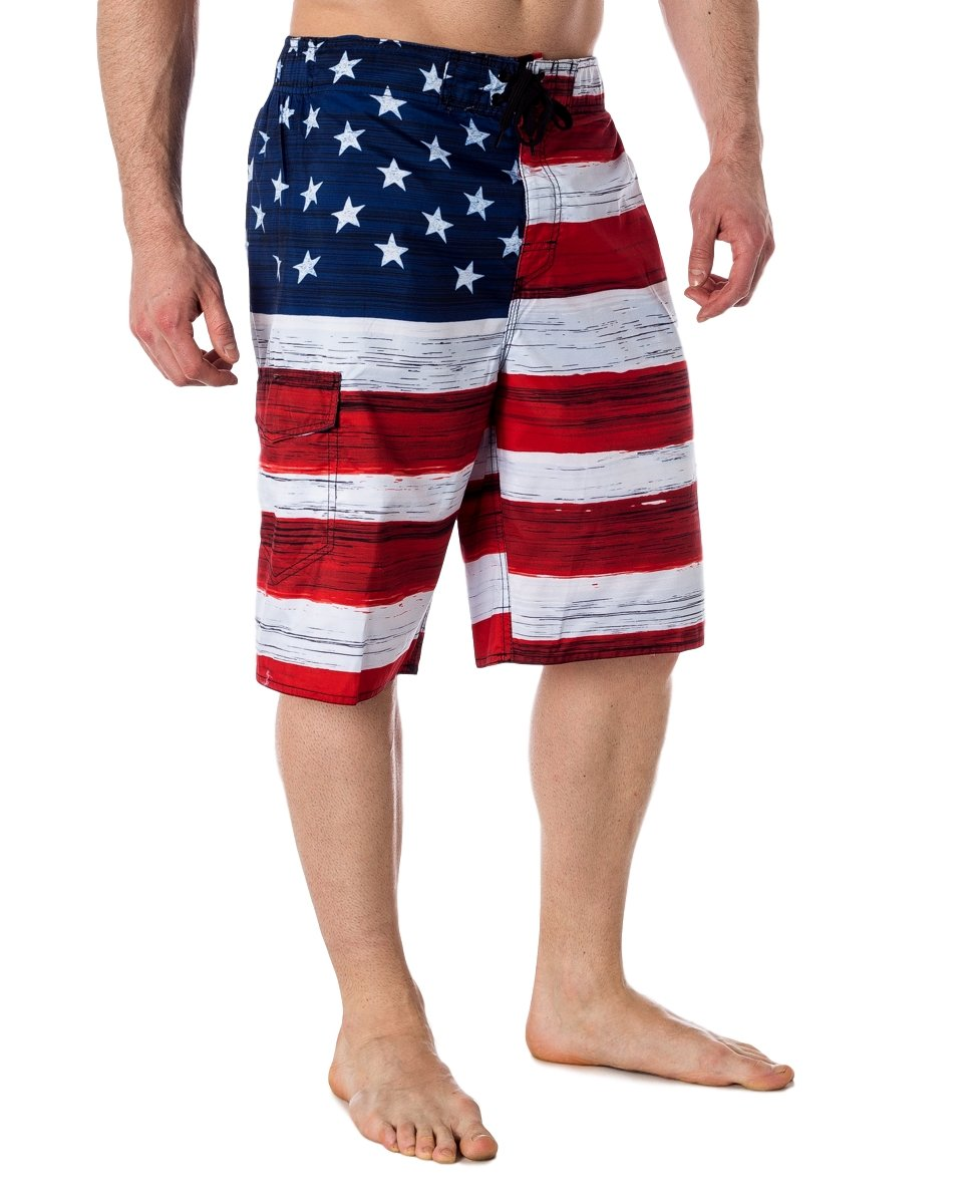 US Apparel Men's American Flag Inspired Board Shorts, Red, M