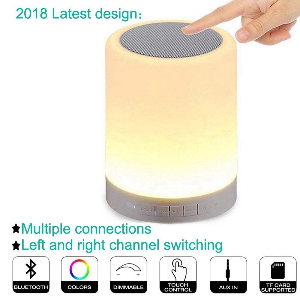 Youtree Bluetooth Speakers, Smart Touch Lamp Speaker & Color Changing Night Light Wireless Stereo Subwoofer, Best Gift for Men Women Teens Children Kids and Friends. Light